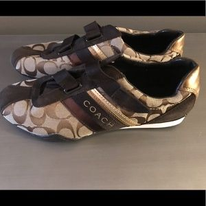 Brown and tan Coach tennis shoes. Brand new!